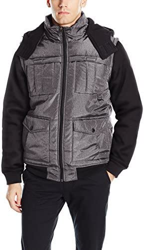 Southpole Men's Two Fer Padded Vest and Jacket All in One