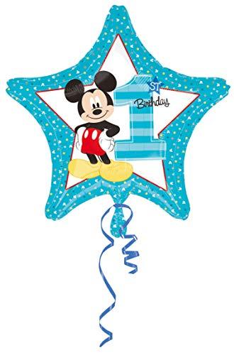Amscan 10022866 Disney Mickey & Friends Ballon en aluminium pour 1er anniversaire Bleu/blanc 20 g 17,78 x 26,67 x 0,2 cm