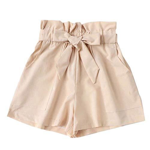 Ladies Pants Summer Elegant Women Bag Fashion Lhwy Casual Moderna Pantaloni Larghi Lady A Line Pantaloncini da Spiaggia Casual Pantaloni Corti Teen Men Girls (Color : Beige, One Size : L)