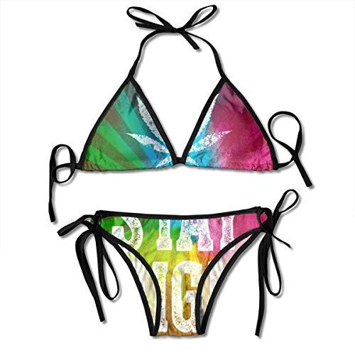 Damen Halfter Bikini Set Marihuana Weed Cannabis Stay High Zweiteilige Badeanzüge Dreieck Badeanzug