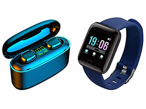QWERT D13 Smart Armband Gesundheit Fitness Wasserdicht Sport Smart Watch Und Bluetooth Wireless 5.0 TWS Drahtloser KopfhöRer Sport Stereo In-Ear-KopfhöRer Mini-Headset (Blau)