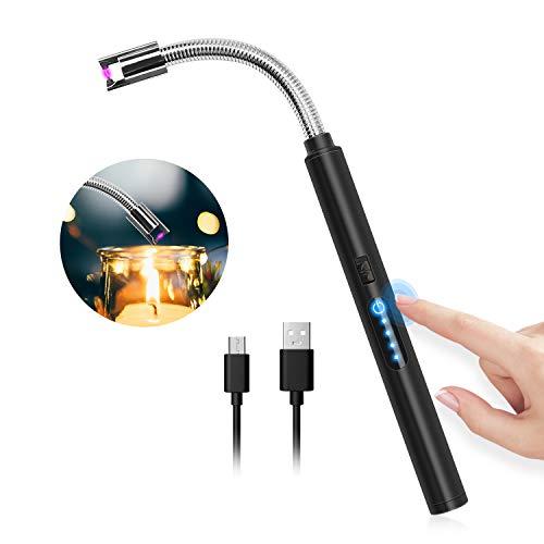 HOTERB Lichtbogen Feuerzeug,Elektro Feuerzeug USB Aufladbares Elektrisch Feuerzeug mit Touch Fläche,Elektronisches Feuerzeug Elektrischer Kerzenanzünder Stabfeuerzeug für Kerzen,Gasherd,Grill(Schwarz)