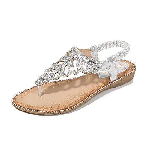 DovSnnx Verano Sandalias Planas Mujer Bohemia Gladiador Talón Abierto Zapatos Comodas Cuña Plataforma Punta Abierta Alpargatas Caminar Deportivas Playa Hoja Cristal Clip Toe Plata