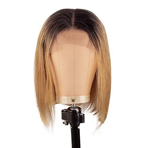 Femmes Bob perruque courte ligne droite brésilienne Ombre Lace Front perruques de cheveux humains Pré plumé for les femmes pour les femmes Cosplay Party (Color : T1B27, Size : 12inches)