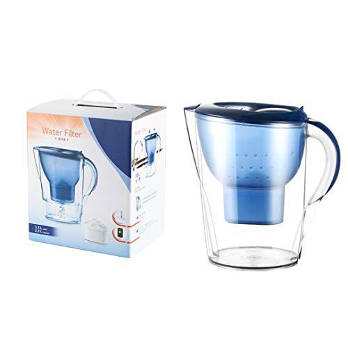 DENGC Purificador de Agua de carbón Activado portátil Hervidor de Agua para el hogar Filtro de Olla Tetera de Agua fría Gran Capacidad-Azul + Transparente