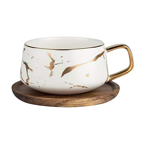 Coffeezone 10.5 Oz Matte Ceramic Marble Tea Coffee Cups with Wood Saucers Luxury Gold Inlay (White, Cup & Saucer)