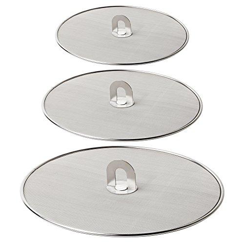 Homestia Grease Splatter Screen for Frying Pan Fine Mesh Stops Stove Oil Guard Skillet Lid Heavy Duty 10'+11.5'+13'