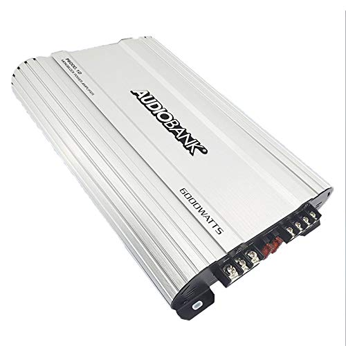 Audiobank P6001 Monoblock 6000 WATTS Amp Class D 1OHM Car Audio Stereo Amplifier with Remote Turn On/Off Circuit/Heavy-Duty Aluminium Alloy Heatsink Power and Protection Indicator