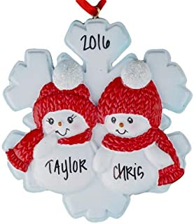 HolidayTraditions Snowman Snowflake Couple Personalized Ornament - Unique Christmas Tree Ornament - Special Keepsake - Custom Decorations for Significant Others, Loved Ones, and Special Couples