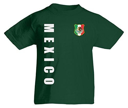 Mexiko Mexico WM-2022 Kinder T-Shirt Wunschname Nummer Flaschengrün 128