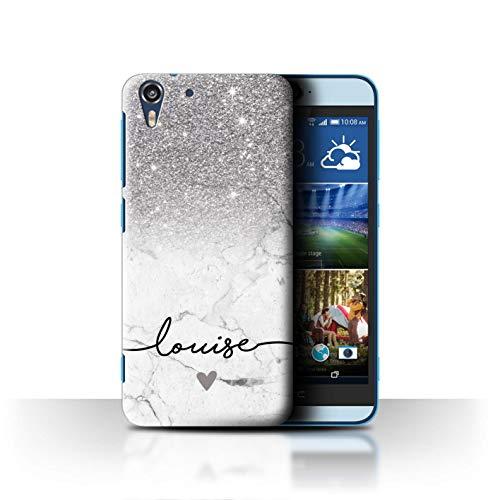 Personalisiert Hülle Für HTC Desire Eye LTE Handschrift Glitter Ombre Silber FunkeIn Weißer Marmor Design Transparent Ultra Dünn Klar Hart Schutz Handyhülle Case