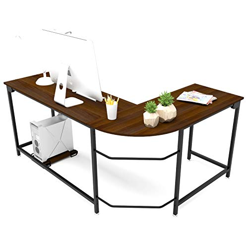 Hago Modern LShaped Desk Corner Computer Desk Home Office Study Workstation Wood amp Steel PC Laptop Gaming Table