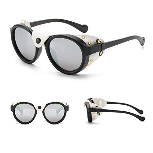 SXRAI Gafas de Sol Redondas para Hombres Gafas de Sol Laterales con protección Lateral para Hombres Gafas de Sol Uv400