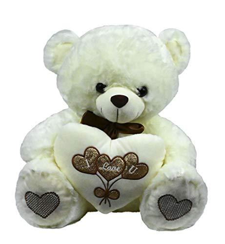 LOYFER Oso de Peluche 45cm Color Beige Regalo para Día de San Valentín con un corazón con Mensaje Love sensación de Felpa Muy Suave Azul (Beige)