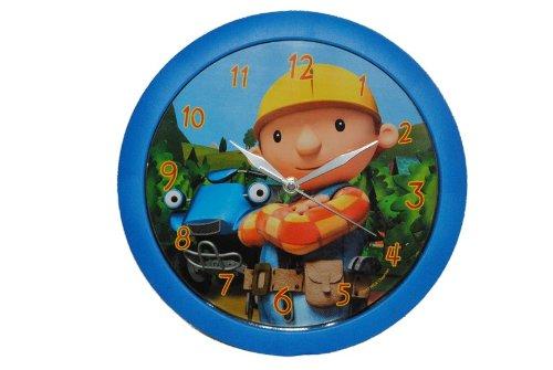 alles-meine.de GmbH Wanduhr -  Bob der Baumeister  - blau 28,5 cm groß - Uhr Kinderzimmer tickt Kinderuhr - Sprinti Jungen bunt / Kinderwanduhr - Baustelle Kinderuhr - Auto