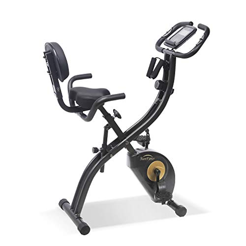 SunFitter Recumbent Bike Folding Exercise Bike Fitness Indoor Cycling Stationary Bike with Resistance Bands for Women Men Home Gym Use
