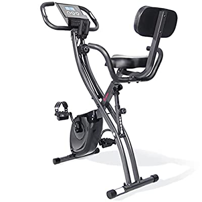 Ps Indoor Folding Exercise Bike ,Magnetic workout Cycling With Resistance Band /Pulse Sensor/300 LB Capacity Large Seat , Foldable Stationary fitness Bikes Aerobic Training For gym home use