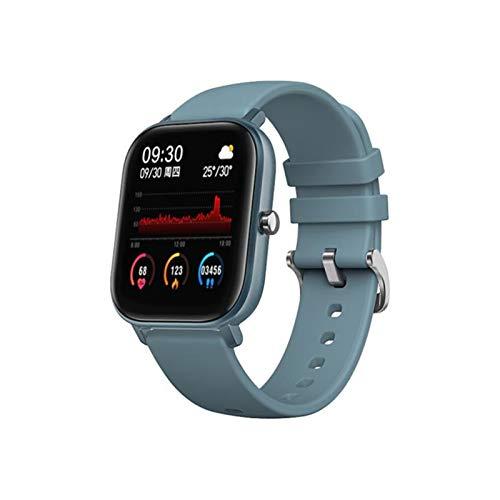 LYB Reloj inteligente de 1,4 pulgadas, pantalla táctil completa, impermeable, reloj deportivo, frecuencia cardíaca, color azul