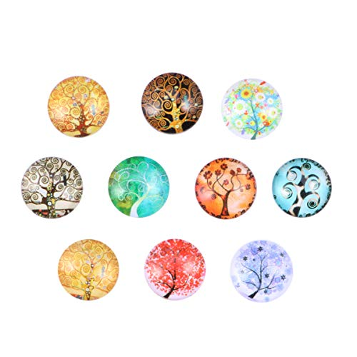 Supvox Gemischte halbrunde Glasmosaikfliesen Zubehör für Schmuckherstellung 12mm 10pcs (Movement Tree)