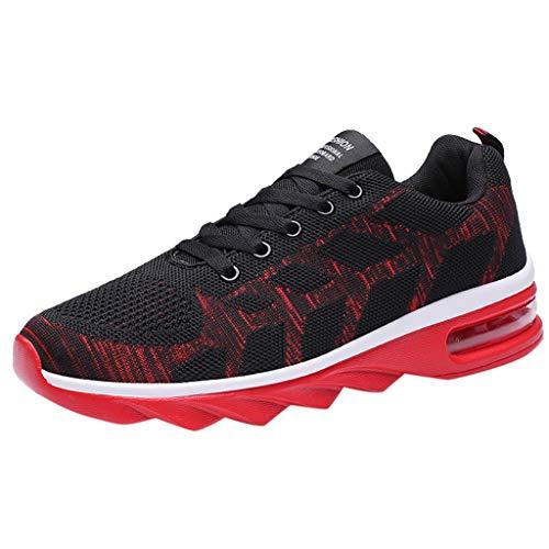 Poamen Herren Damen Laufschuhe Sport Turnschuhe Stoßdämpfend Sneaker für Wandern Gym Jogging Fitness Athletic Casual Schuhe, Schwarz - B - Größe: 41 1/3 EU