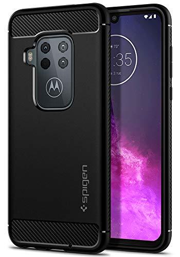 Spigen Rugged Armor Kompatibel mit Motorola One Zoom Hülle ACS00384 TPU Silikon Schwarz Handyhülle Karbon Design Schutzhülle Case Black