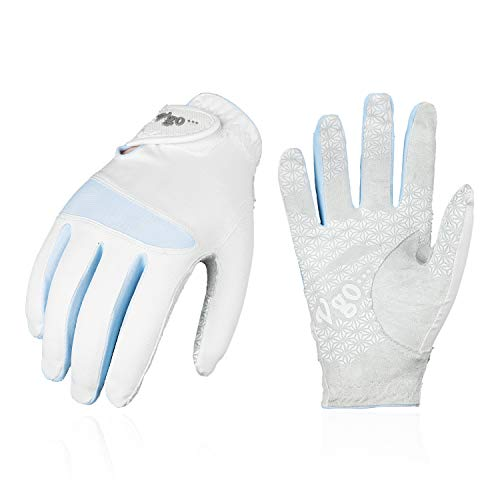 Vgo... Golfhandschuhe für Damen, Mikrofaserpalmen, weich und atmungsaktiv(1 Paar, 7/S, Hellblau, MF7991)