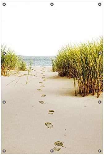 Wallario Garten-Poster Outdoor-Poster, Spuren im Sand- Fußspuren durch die Düne zum Meer in Premiumqualität, für den Außeneinsatz geeignet