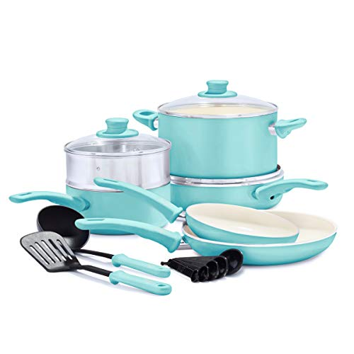 GreenLife Soft Grip Healthy Ceramic Nonstick Turquoise Cookware Pots and Pans Set, 12-Piece