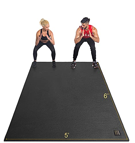 GXMMAT Large Exercise Mat 6'x5'x7mm, Non-Slip Workout Mats for Home Gym Flooring, Extra Wide and Thick Durable Cardio Mat, High Density, Shoe Friendly,Great for Plyo, MMA, JumpRope,Stretch,Fitness