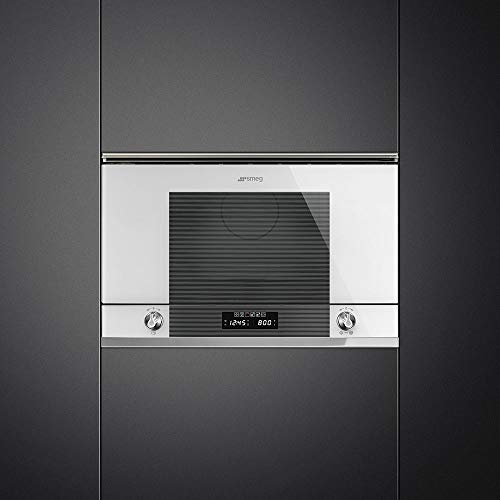 Micro ondes Grill Encastrable Smeg MP122B1 - Micro-Ondes + Grill Integrable Blanc et Inox - 22 litres - 850 Watts