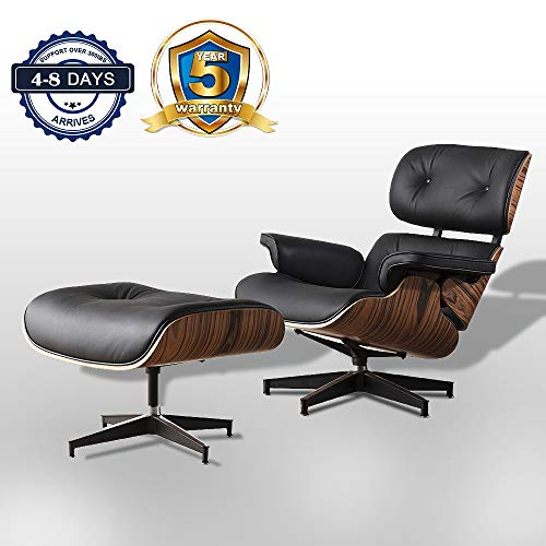 Chaise Lounge Chair Indoor Recliner w/Ottoman Full Grain Leather Genuine Classic Mid Century Modern Living Room Bedroom Reading Gaming Comfortable Plywood Black Swivel Sofa Walnut (Black)