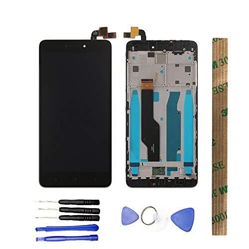 JayTong - visualización LCD y digitalizador de visualización táctil de Repuesto para Xiaomi Redmi Note 4X / Note 4 Global Version Qualcomm Snapdragon 625 Negro con Marco