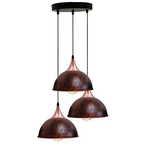 Moderno 3 vías retro techo lámpara colgante racimo luz de montaje rústico cúpula roja lámpara estilo hogar con soporte E27 kit de iluminación