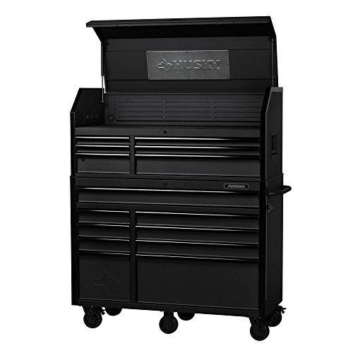 Husky Industrial 52 in. W x 21.7 in. D 15-Drawer Tool Chest and Cabinet Combo Textured Black