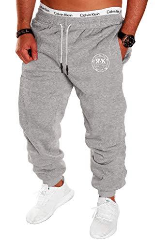 RMK Herren Hose Jogginghose Trainingshose Sporthose Fitnesshose Sweatpants Uni Einfarbig H.07 (XL, Grau)