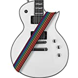 Amumu Guitar Strap Rainbow Stripe Polyester Cotton for Acoustic, Electric and Bass Guitars with Strap Blocks & Headstock Strap Tie
