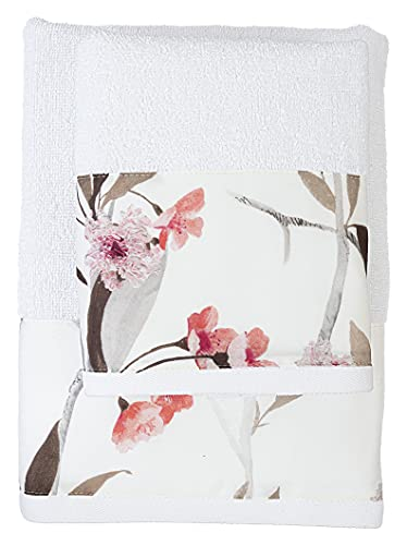 FILET Juego de Toallas para Cara + Invitados, con impresión Digital aplicada, Color Blanco, algodón, 62 x 110 cm, 40 x 60 cm