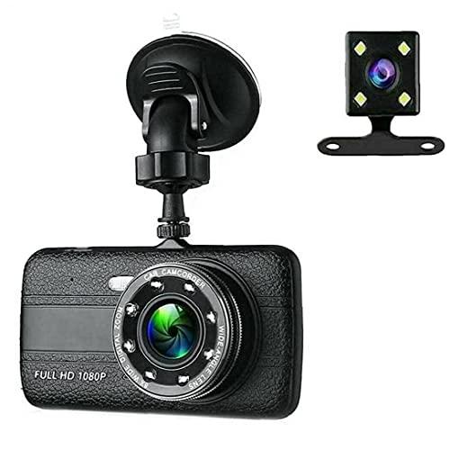 Liadance Cámara de salpicadero para Coche HD 1080P DVR Grabadora de conducción de Doble Lente con Pantalla de visión Nocturna (con batería)