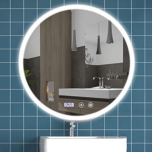 Espejo Baño con Luz LED - Espejo Iluminado con Interruptor Táctil Regulable Montado En La Pared con Cambio de Temperatura de Color Blanco/Neutro/Cálido