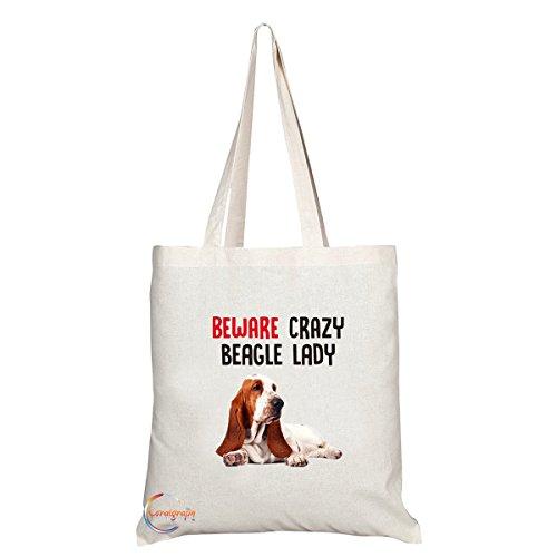 TB295 Pas op Crazy Beagle Lady Novelty Cadeau Gedrukt Milieuvriendelijk Stijlvol Lange Handled Tote Schoudertas
