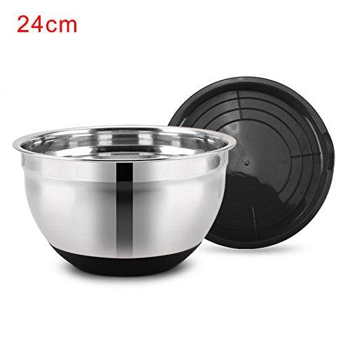 Bol à mélanger en acier inoxydable profond Saladier avec base en silicone antidérapante et couvercle pour maison de cuisine 24 cm Voir image