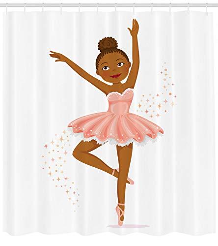 Ballerina-Tänzerin Duschvorhang für Badezimmer,wasserdichtes & schnelltrocknendes Polyester,hochauflösendes Muster,12Haken,183x183cm