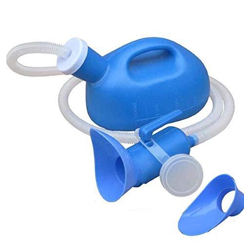 ZYQDRZ Orinatoio Neutro da 2000 Ml, Bottiglia di Urina Portatile 3 in 1, Campeggio Portatile, Orinatoio in Plastica PE, con Connettore per Tubo di Prolunga/Copertura,Blu