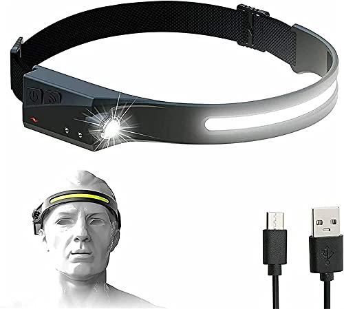 230 °led Stirnlampe, Wiederaufladbare Stirnlampe Taschenlampe, Bewegungssensor Stirnlampe Mit Ipx4 Wasserdicht, Stirnlampe Mit 230 ° Beleuchtung, Verstellbare Stirnlampe Zum Laufen Wandern