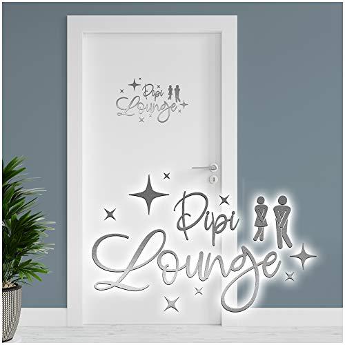 Dekoaufkleber Pipi Lounge 26x16cm für Badezimmer Bad WC Toilette Tür Wandtattoo Unisex Wand Sticker Aufkleber lustig witzig selbstklebend YX025 (Silber)