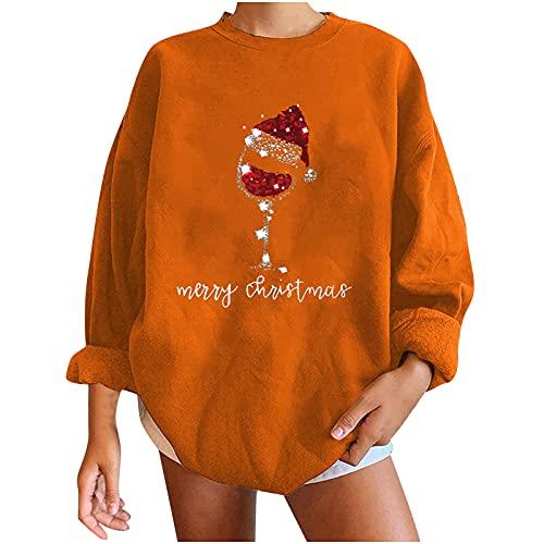 AOCRD Jersey para mujer con impresión navideña, grande, holgado, otoño, invierno, manga larga, cuello...