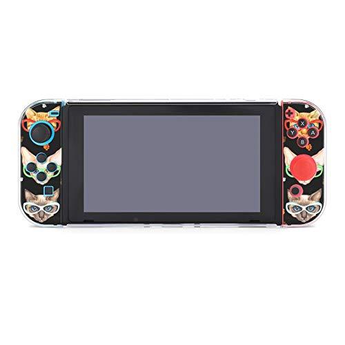 Funda protectora para Nintendo Switch Acuarela Gatos con Gafas de sol Lite Funda resistente a los arañazos a prueba de golpes Shell Split Kawaii Cover para niños y niñas y mujeres
