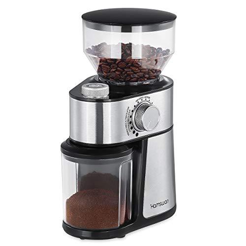HAMSWAN HY-1416SS Flat Grat-Kaffeemühle, 18 Mahlgradeinstellungen, abnehmbarer Bohnenbehälter & Behälter, Auswahl 2-14 Tassen, 200W MEHRWEG