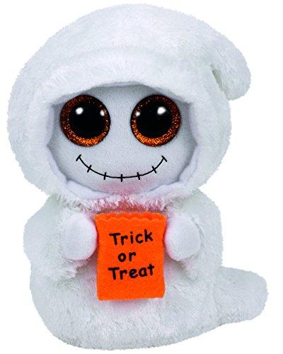 Carletto Ty Ty 37194 Mist Geist mit Glitzeraugen, Beanie Boo's, Halloween limitiert, Plüsch, 15 cm, weiß