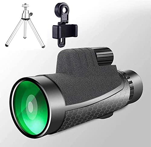 HLSH Starscope Monocular Zoom 12 x 50 HD Prism a Prueba de Agua con trípode Adaptador Universal para Smartphone